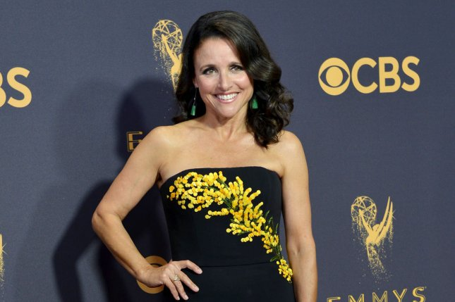 Julia Louis-Dreyfus paid homage to her show Veep on social media on the last day of filming, alongside Tony Hale and Timothy Simons. File Photo by Christine Chew/UPI