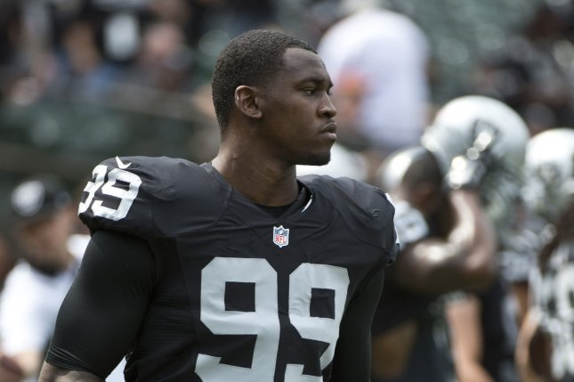Former Oakland Raiders edge rusher Aldon Smith hasn't played in the NFL since 2015. File Photo by Terry Schmitt/UPI