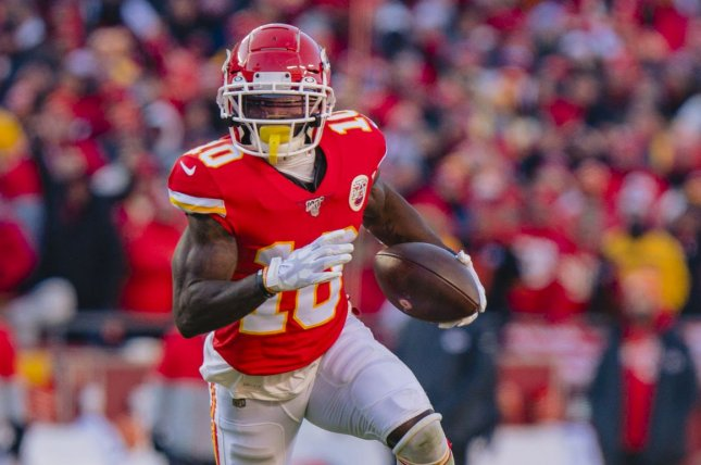 Kansas City Chiefs wide receiver Tyreek Hill has scored in six of his last seven games and is my top fantasy football option for Week 15. File Photo by Kyle Rivas/UPI