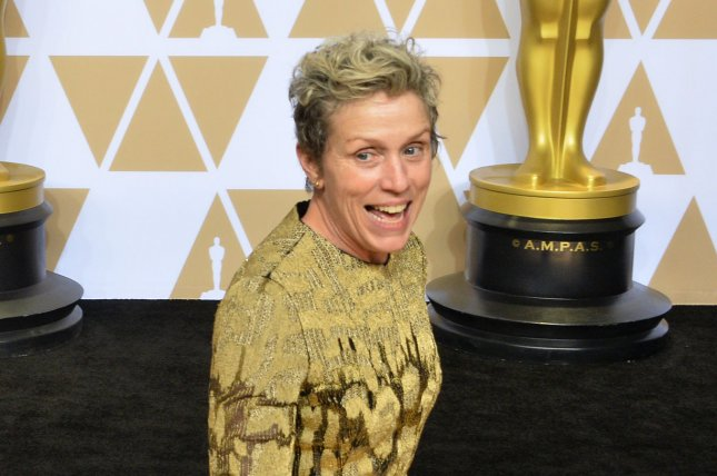 Frances McDormand, winner of the Best Actress award for Three Billboards Outside Ebbing, Missouri appears backstage with her Oscar during the 90th annual Academy Awards at Loews Hollywood Hotel in the Hollywood section of Los Angeles on March 4, 2018. The actor turns 64 on June 23. File Photo by Jim Ruymen/UPI