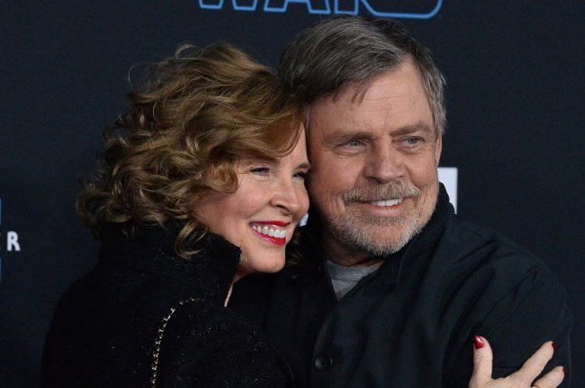 Mark Hamill (R) and his wife, Marylou York, attend the premiere of Star Wars: The Rise of Skywalker in December 2019. Hamill played Know Your Role on The Tonight Show. File Photo by Jim Ruymen/UPI