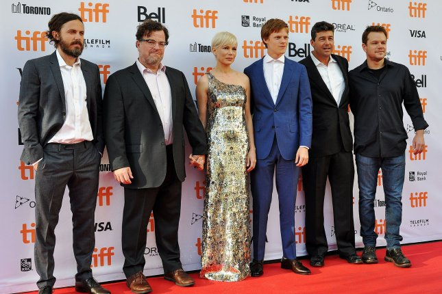 Director Kenneth Lonergan (second from left) and his cast (L-R) Casey Affleck, Michelle Williams, Lucas Hedges, Kyle Chandler and producer Matt Damon arrive at the Toronto International Film Festival premiere of Manchester By The Sea at the Princess of Wales Theatre in Toronto, Canada, on September 13, 2016. Photo by Christine Chew/UPI