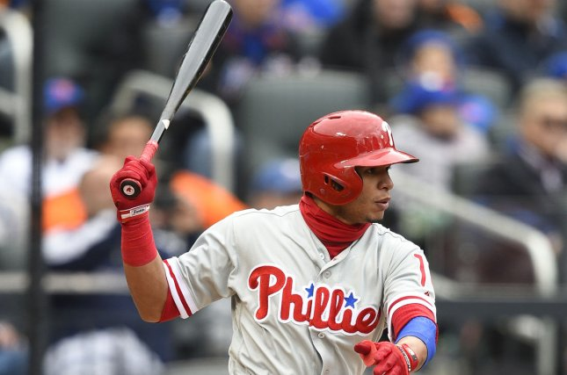Philadelphia Phillies second baseman Cesar Hernandez (16) singles in the first inning against the New York Mets. File photo by Rich Kane/UPI