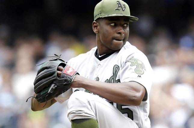Oakland Athletics starting pitcher Jharel Cotton throws a pitch in the first inning against the New York Yankees at Yankee Stadium on May 27 in New York City. File photo by John Angelillo/UPI