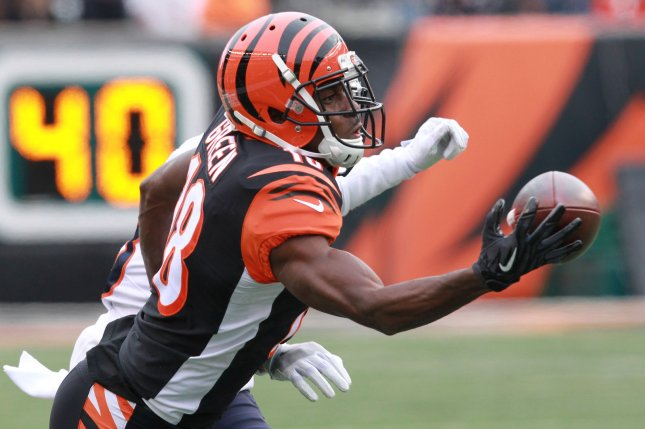 Cincinnati Bengals wide receiver A.J. Green (18) can't make the catch under pressure from Chicago Bears' Kyler Fuller (23) during the first half of play at Paul Brown Stadium on December 10 in Cincinnati, Ohio. Photo by John Sommers II /UPI