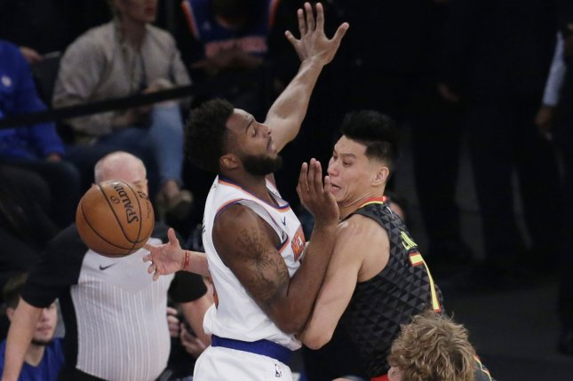 Atlanta Hawks guard Jeremy Lin throws a pass during a game against the New York Knicks at Madison Square Garden on October 17, 2018. Photo by John Angelillo/UPI