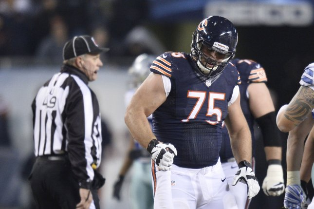Chicago Bears guard Kyle Long (75) has landed on injured reserve in each of the last four seasons. File Photo by Brian Kersey/UPI