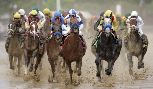 The field heads down the straight-away at the start of the 136th running of the Kentucky Derby at Churchill Downs in Louisville, Kentucky, on May 1, 2010. UPI /Mark Cowan