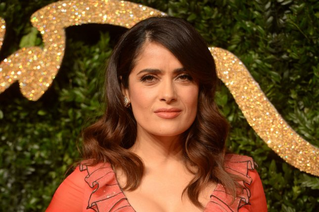 Salma Hayek at the British Fashion Awards on Nov. 23. The actress shared a makeup-free selfie Tuesday on Instagram. File Photo by Rune Hellestad/UPI
