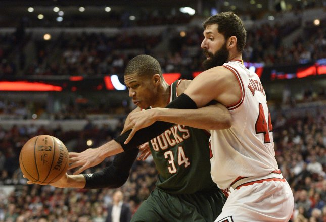 Milwaukee Bucks forward Giannis Antetokounmpo may miss Friday's home game against the New York Knicks. Photo by Brian Kersey/UPI