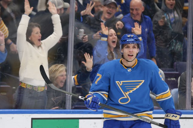 St. Louis Blues forward David Perron sent a puck up Anthony Mantha's pants during the Detroit Red Wings' win against the Blues on Wednesday in Detroit. Photo by Bill Greenblatt/UPI