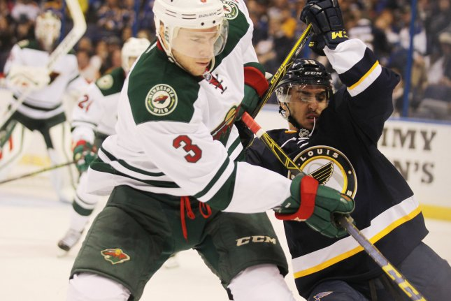 Minnesota Wild forward Charlie Coyle is headed to the Boston Bruins after the teams agreed to a trade Wednesday. File Photo by Bill Greenblatt/UPI