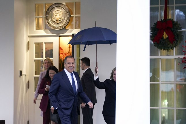 Russian Minister of Foreign Affairs Sergey Lavrov departs the White House after meeting with President Donald Trump on December 10. Lavrov said Moscow wants to speak to Washington, D.C., about hypersonic weapons. File Photo by Kevin Dietsch/UPI