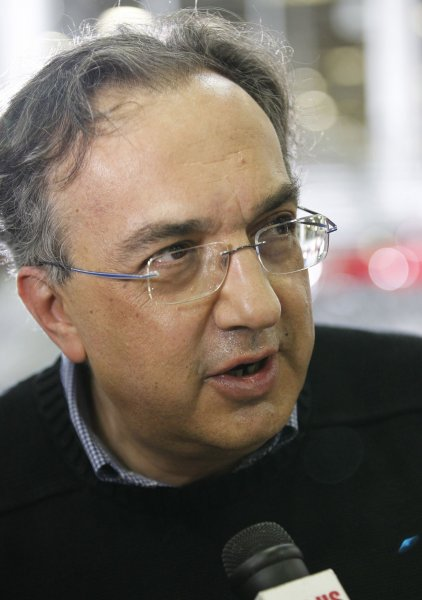Chrysler CEO Sergio Marchionne talks to reporters following an address by U. S. President Barack Obama at a Chrysler assembly plant in Detroit on July 30, 2010. UPI/Brian Kersey
