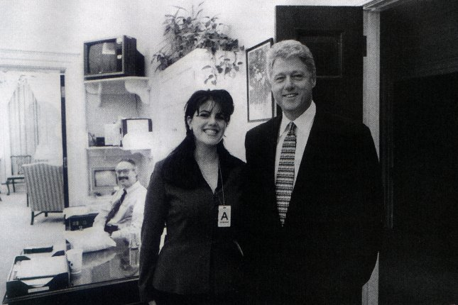 President Bill Clinton is pictured with White House intern, Monica Lewinsky, in this November 1995 photograph which appeared in Independent Counsel Kenneth Starr's report. Photo by The White House/UPI