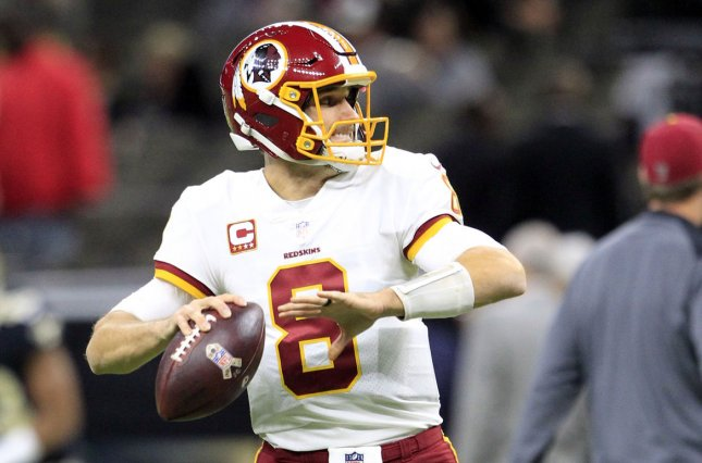 Washington Redskins quarterback Kirk Cousins (8) warms up before the game with the New Orleans Saints on November 19, 2017 at the Mercedes-Benz Superdome in New Orleans. Photo by AJ Sisco/UPI