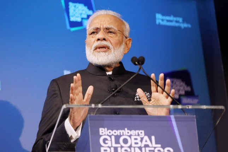 India Prime Minister Narendra Modi speaks on September 25 at the Bloomberg Global Business Forum in New York City. File Photo by Monika Graff/UPI