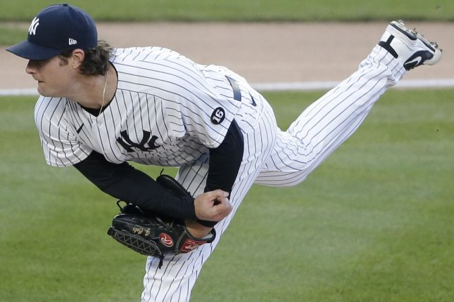 New York Yankees ace Gerrit Cole allowed just four hits and one run over seven innings in a 4-1 win over the Los Angeles Angels on Wednesday at Angel Stadium in Anaheim, Calif. File Photo by John Angelillo/UPI