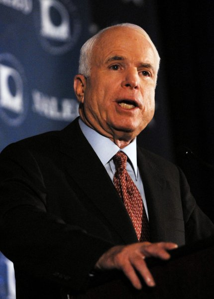 Presumptive Republican presidential candidate Sen. John McCain (R-AZ) speaks at the 25th annual conference of National Association of Latino Elected and Appointed Officials (NALEO) in Washington on June 28, 2008. (UPI Photo/Alexis C. Glenn)