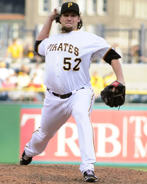 Joel Hanrahan, shown in a June 2012 game, was traded Wednesday by the Pittsburgh Pirates to the Boston Red Sox in a six-player deal. UPI/Archie Carpenter