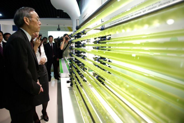 U.S. Secretary of Energy Steven Chu looks at tubes carrying algae, a promising oil alternative, while touring China's innovative, 'new energy' giant ENN's showroom and campus in Tianjin on July 17, 2009. (UPI Photo/Stephen Shaver)