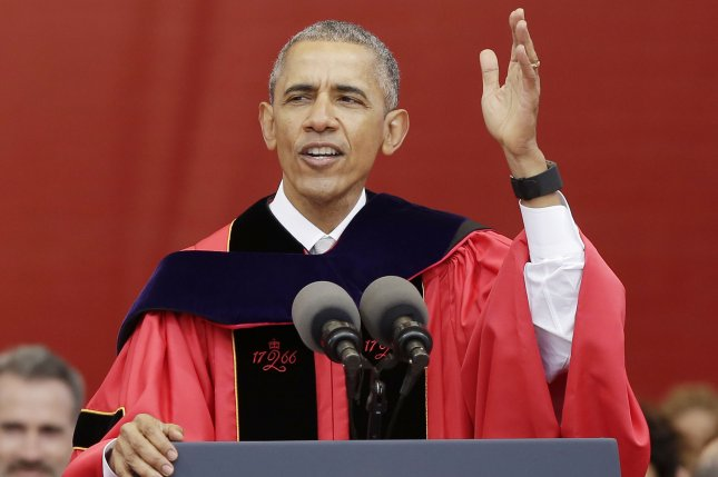 President Barack Obama delivers remarks Sunday at Rutgers University commencement in High Point Solutions Stadium in Piscataway, N.J. President Obama received an honorary doctrine of laws degree at the graduation. Photo by John Angelillo/UPI