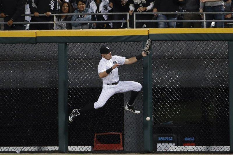 Chicago White Sox center fielder Adam Engel robbed three home runs last week. File photo by Kamil Krzaczynski/UPI