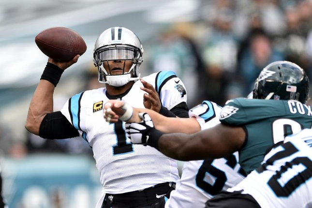 Carolina Panthers quarterback Cam Newton throws the ball during the first quarter of an NFL football game against the Philadelphia Eagles on Sunday at Lincoln Financial Field in Philadelphia. Photo by Derik Hamilton/UPI