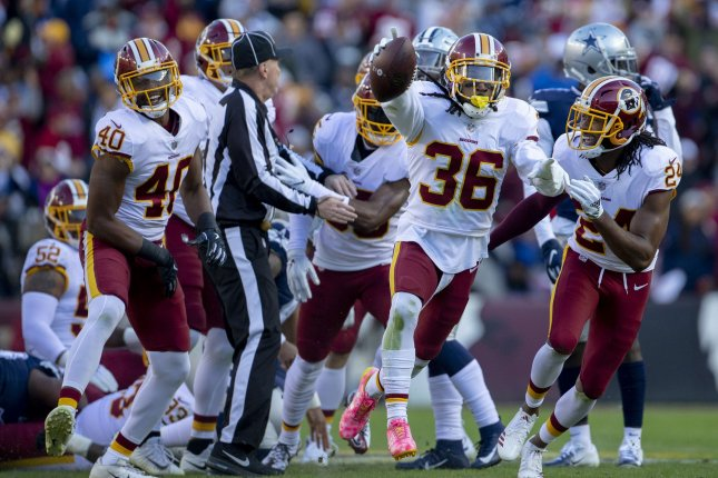 Washington Redskins free safety D.J. Swearinger (36) celebrates his fumble recovery against the Dallas Cowboys in the first half of play on October 21 at FedEx Field in Landover, Maryland. Photo by Tasos Katopodis/UPI