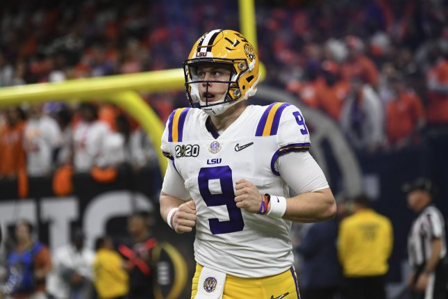 Former LSU quarterback Joe Burrow threw a FootballBowl Subdivision record 60 touchdown passes in 2019-2020 for the Tigers. File Photo by Pat Benic/UPI