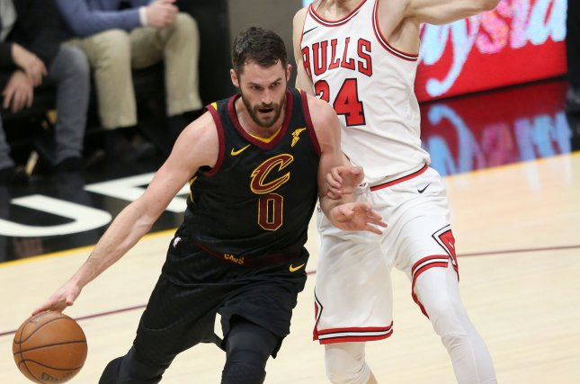 Cleveland Cavaliers forward Kevin Love provided financial assistance to arena workers at the Cavs' Rocket Mortgage Fieldhouse in March. File Photo by Aaron Josefczyk/UPI