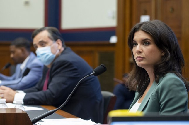 The U. S. House Committee on Natural Resources heard testimony Monday from Australian TV journalist Amelia Brace (R) about police use-of-force against protesters in Washington D.C.'s Lafayette Square. Pool photo by Bonnie Cash/UPI