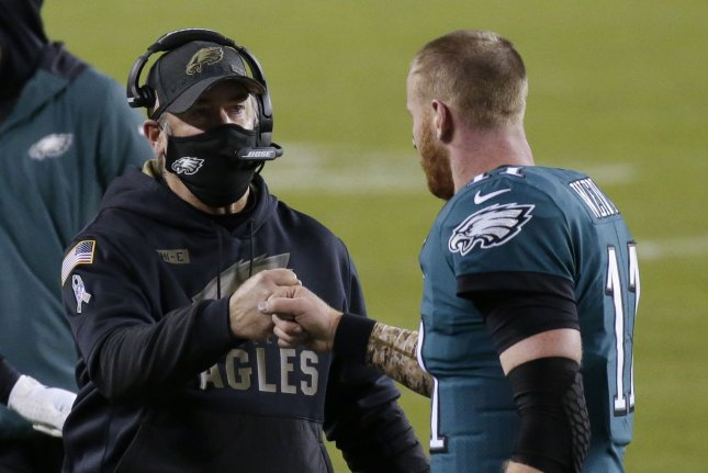Philadelphia Eagles quarterback Carson Wentz (R) has endured one of the worst seasons of his NFL career this year, ranking first in interceptions thrown (15) and sacks taken (50). File Photo by John Angelillo/UPI