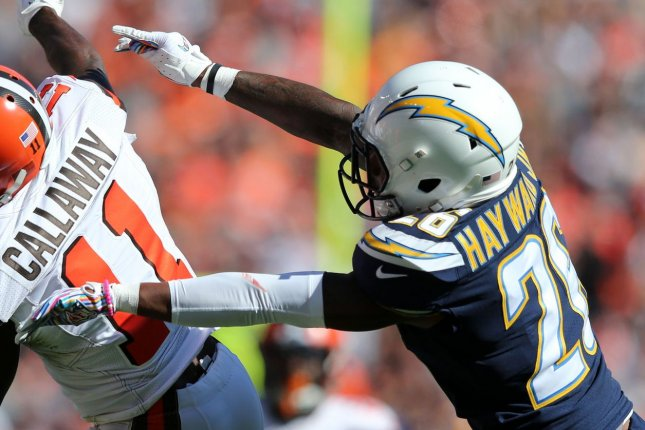 Cornerback Casey Hayward spent his last five seasons with the Los Angeles Chargers. File Photo by Aaron Josefczyk/UPI