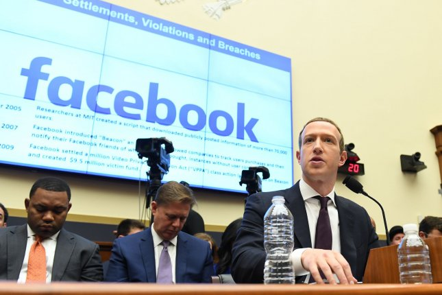 Facebook CEO Mark Zuckerberg testifies before the House Financial Services Committee in Washington on October 23, 2019. File photo by Pat Benic/UPI