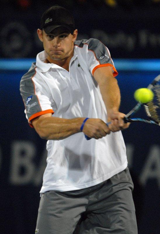 Andy Roddick, shown at the Dubai Tennis Championships March 8, 2008. (UPI Photo/Norbert Schiller)