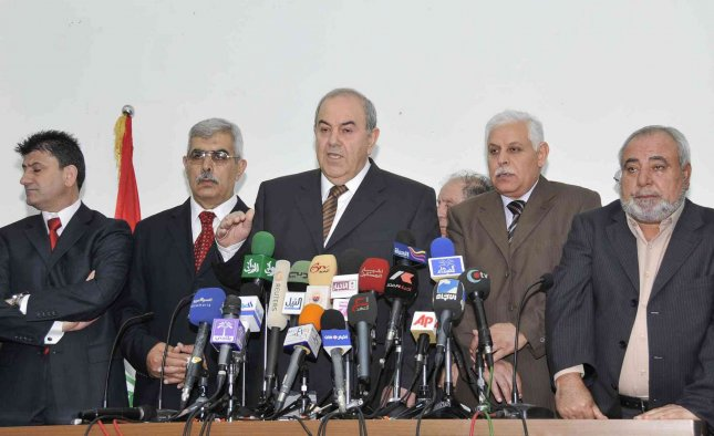 Iyad Allawi, former prime minister and head of the secular Iraqiya coalition, speaks during a media conference in Baghdad March 27, 2010. Secularist challenger Iyad Allawi's coalition won the most seats in Iraq's election, according to preliminary results on Friday, but the tight race foreshadowed long, divisive talks to form a new government. UPI/Ali Jasim