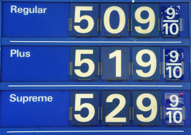 Gas prices are listed at $5.09 9/10 for regular and $5.29 9/10 for premium at a station in Washington, DC, on May 6, 2011. UPI/Roger L. Wollenberg
