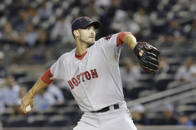 Boston Red Sox starting pitcher Rick Porcello throws a pitch. Photo by John Angelillo/UPI