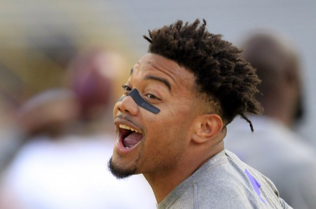 LSU Tigers running back Derrius Guice (5) warms up before the game with the Alabama Crimson Tide at Tiger Stadium in Baton Rouge, La. November 5, 2016. Photo by AJ Sisco/UPI