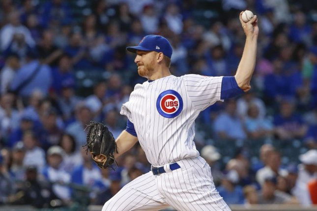 Chicago Cubs pitcher Mike Montgomery delivers against the Pittsburgh Pirates in the first inning on August 28, 2017 at Wrigley Field in Chicago. Photo by Kamil Krzaczynski/UPI