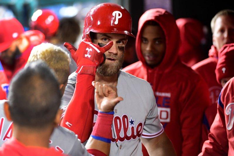 Philadelphia Phillies right fielder Bryce Harper (3) has eight home runs this season. File Photo by Kevin Dietsch/UPI