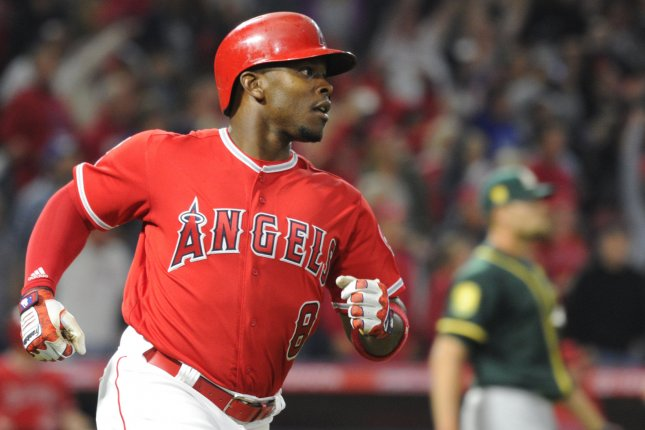 Los Angeles Angels left fielder Justin Upton went 2-for-4 at the plate, but had a costly first inning fielding miscue against the Houston Astros Wednesday in Anaheim, Calif. File Photo by Lori Shepler/UPI
