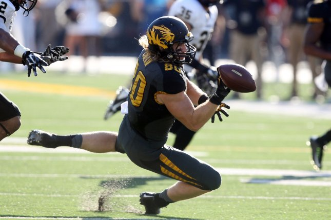 Former Missouri Tigers football player Sean Culkin, shown Oct. 25, 2014, joined the Kansas City Chiefs in February on a reserve/future contract. He played for Mizzou from 2013-16, and he earned a finance degree from the school. File Photo by Bill Greenblatt/UPI