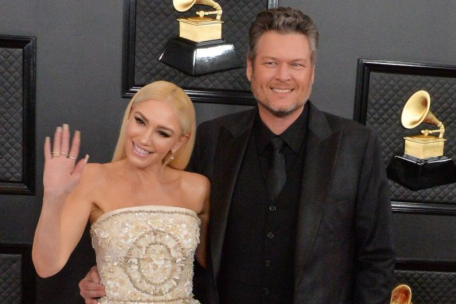 Blake Shelton (R) and his wife Gwen Stefani arrive for the 62nd annual Grammy Awards in January 2020. Shelton will be performing at the 2021 iHeartCountry Festival along with Toby Keith, Little Big Town and Carly Pearce. Bobby Bones is hosting. File Photo by Jim Ruymen/UPI