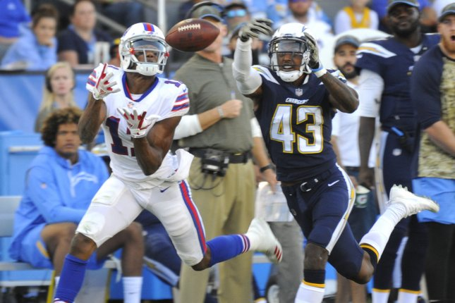 Los Angeles Chargers defensive back Michael Davis (43) breaks up a pass intended for Buffalo Bills wide receiver Zay Jones in the second half on November 19, 2017 at StubHub Center in Carson, California. Photo by Lori Shepler/UPI