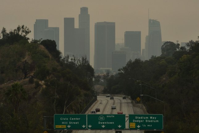 The downtown Los Angeles skyline is shrouded in smoke from the Bobcat Fire in the foothills of Monrovia, California, on Friday, September 11, 2020. Photo by Jim Ruymen/UPI