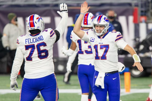 Buffalo Bills quarterback Josh Allen (17), shown on Dec. 28, 2020, completed 26 of 35 passes for 324 yards and two touchdowns against the Indianapolis Colts, adding 54 yards and a score on the ground. File Photo by Matthew Healey/UPI