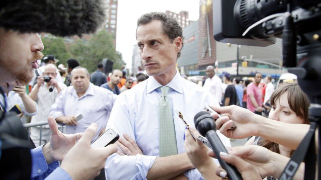 Disgraced former congressman and failed candidate for New York City mayor Anthony Weiner is not amused. (File/UPI/John Angelillo)