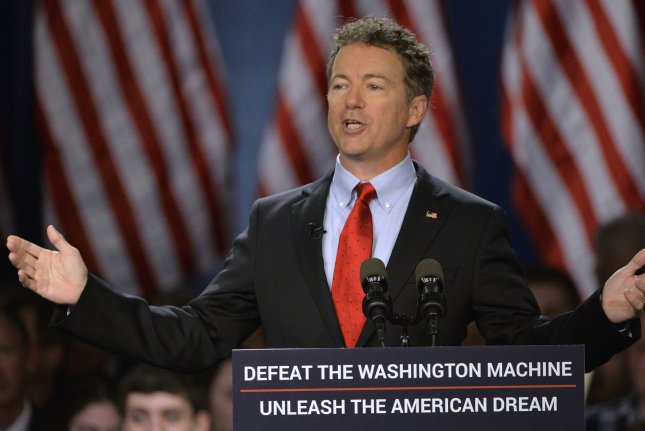 Sen. Rand Paul (R-KY) delivers remarks as he announces his presidential candidacy April 7, 2015 in Louisville, Kentucky. Paul officially announced his 2016 presidential campaign for the President of the United States during the event. Photo by Jamie Rhodes/UPI